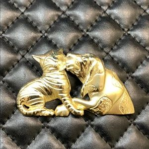 VTG Gold Metal Puppy Dog Kitty Cat Love Brooch